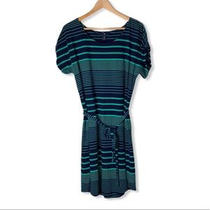 Gap Casual Cotton Striped belted midi dress teal L